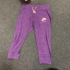 Purple Nike sweatpants joggers cropped small